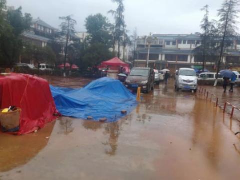 云南文山三七市场交易受雨天影响(2018年1月8日)